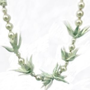 """Jewelry - MINT GREEN DYED SHELL AND PEARL NECKLACE 20""""L"""
